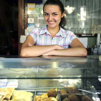 Female small business owner with her pastries