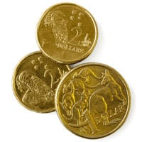 Australian currency - Gold $1 and $2 coins