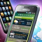 Samsung smartphone with world globe backdrop