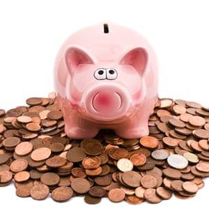 piggy bank on coins