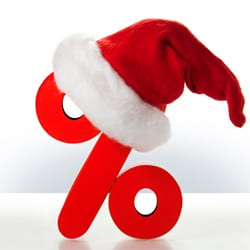 Percent sign wearing Christmas hat