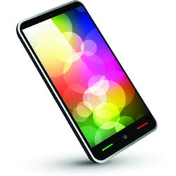 Multi-coloured smartphone screen