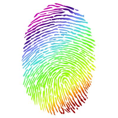 Rainbow coloured fingerprint image