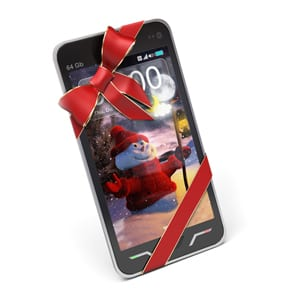 Mobile phone with Santa on the screen