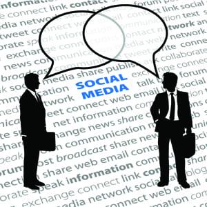Business people talking social media