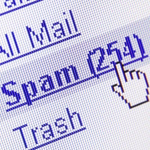 Email spam on computer