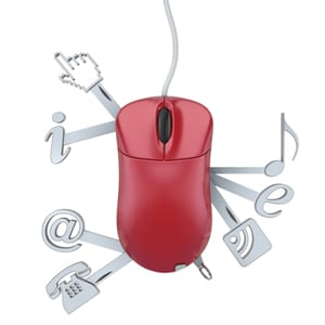 Red mouse with technology icons sticking out of it