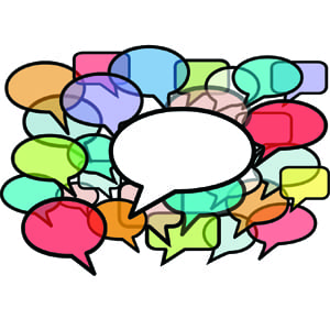 Talk over noise speech bubbles social media