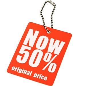 Retail price tag 50% off