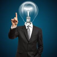 Man with a lightbulb instead of head