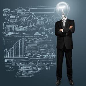 man with lightbulb as head