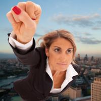 Woman in business attire flying like a superhero