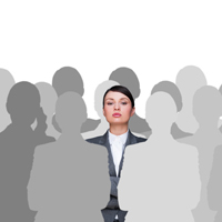 woman standing out in a crowd of silhouettes