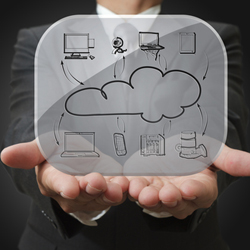 Man holding a cloud computing diagram in his hands