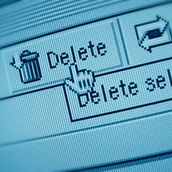 delete button on email account