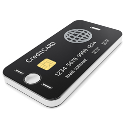Mobile phone with credit card on the front
