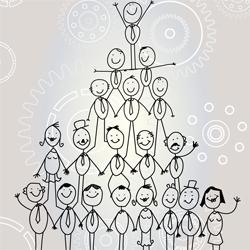 Pyramid of stick figure people