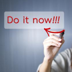 "Woman writing ""Do it now!"" CTA on screen"