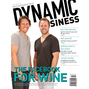 June issue of Dynamic Business magazine cover, featuring Vino Mofo founders
