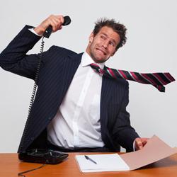 Sales man slamming the phone down