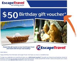 Escape Travel CTA example