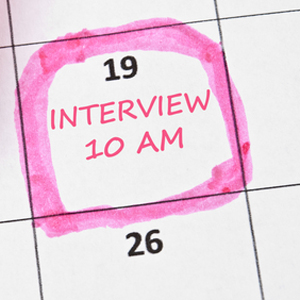 Interview marked at 10am in calendar
