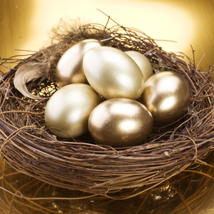 Golden eggs in a nest - superannuation