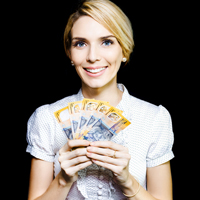 Woman with holding many $50 notes