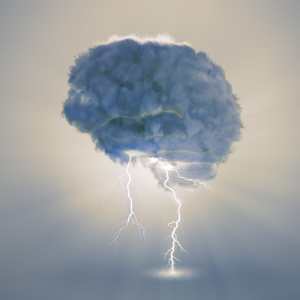 Clouds in the shape of a brain, with lightning