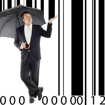 Man standing under barcode