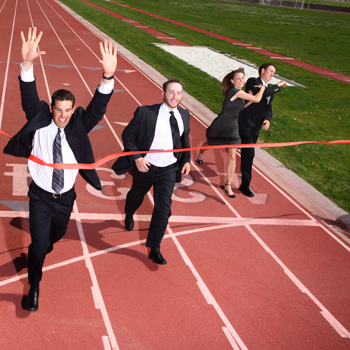 Business owners in running race
