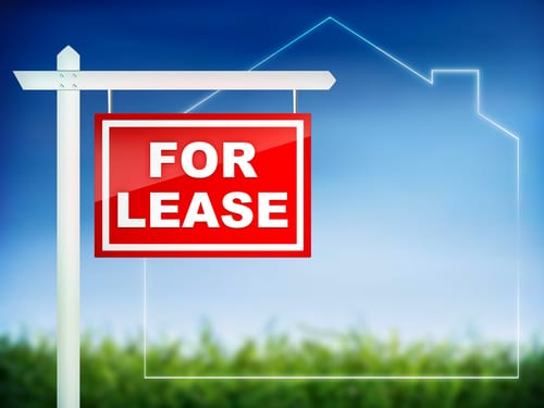 for lease sign in front of house outline