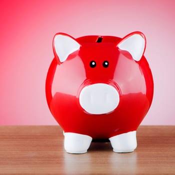 Little red piggy bank