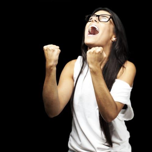 woman cheering herself
