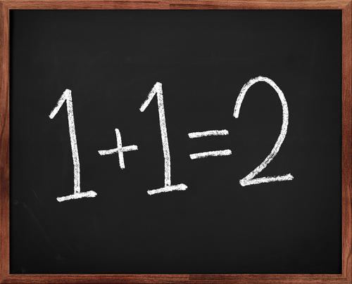 1+1=2 on chalkboard