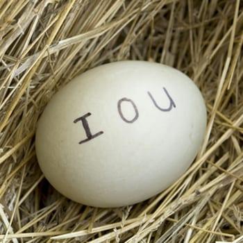 IOU written on egg