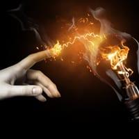 Lightbulb exploding in flames