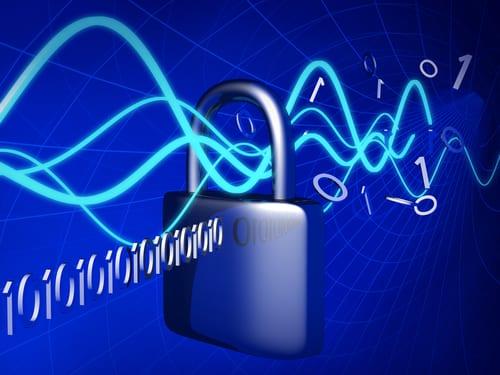 padlock with data going through it