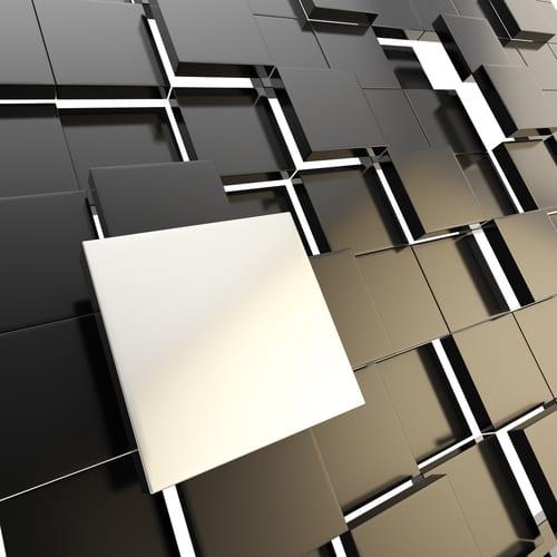 flat white square on 3D black squares