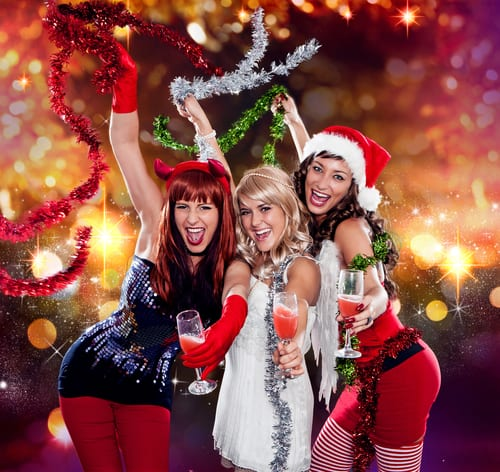 girls at christmas party drinking