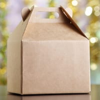 package with glitter background