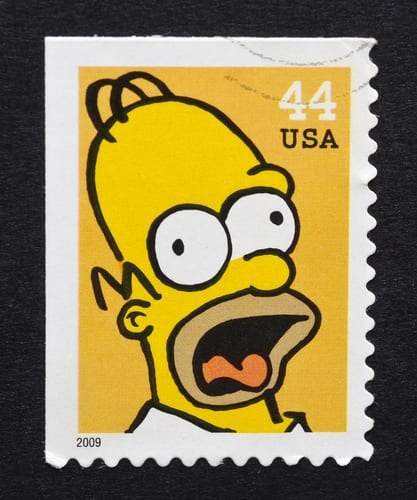 homer simpson stamp
