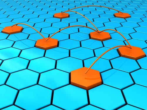 orange squares connecting on blue squares