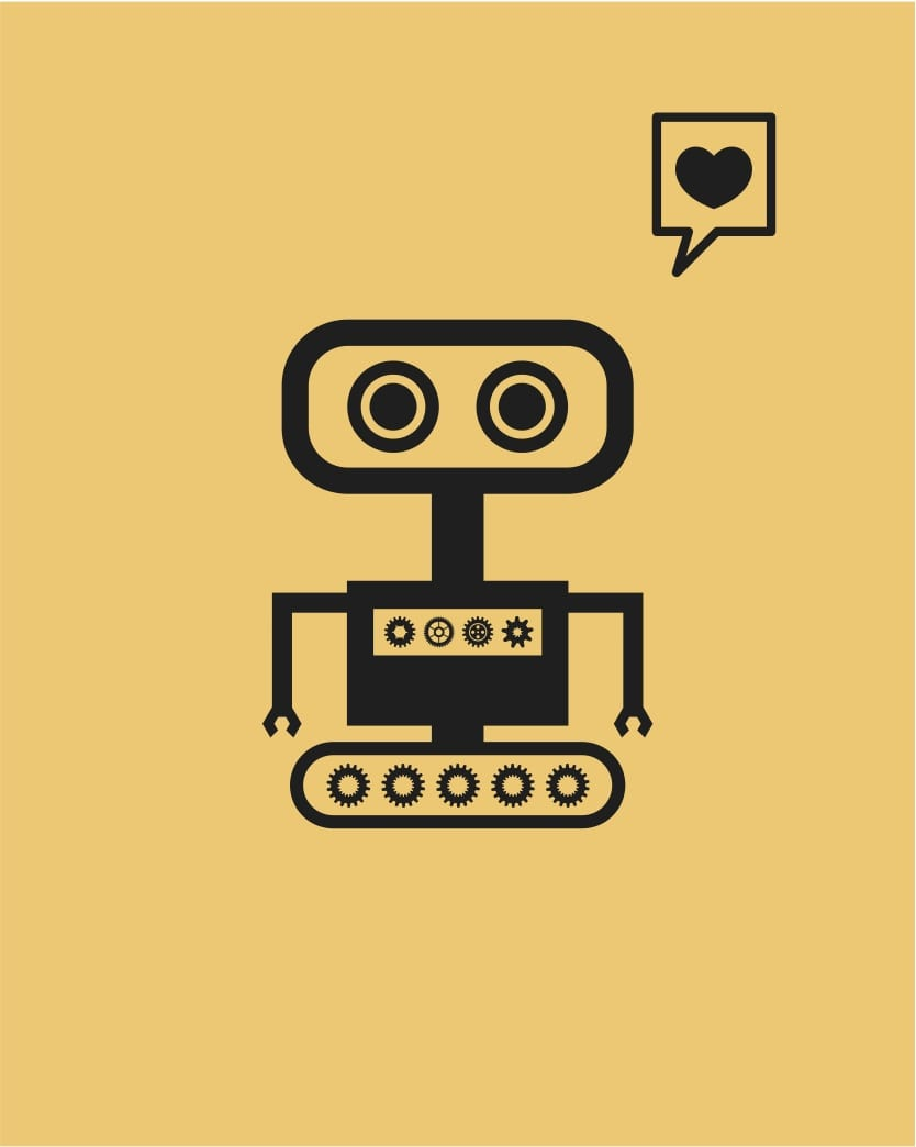 robot thinking of love heart