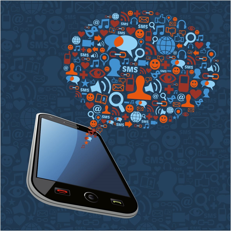 mobile phone releasing social media icons