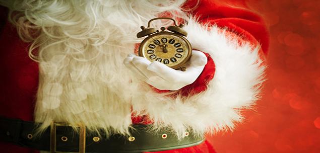 Santa holding alarm