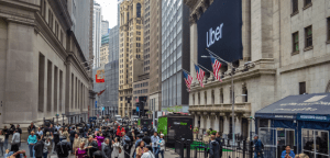 May 10, 2019: A large banner with the Uber logo hanging on the New York Stock Exchange on the day of the initial IPO in lower Manhattan. Should small businesses go public?