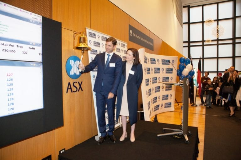 Brett Kelly of Kelly+Partners ringing the bell at the ASX