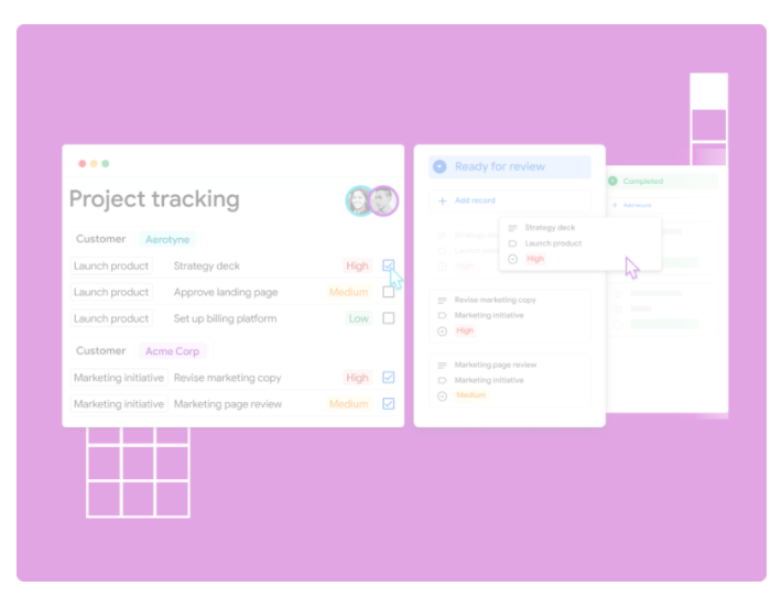 Screenshot from Google.com showcasing project tracking