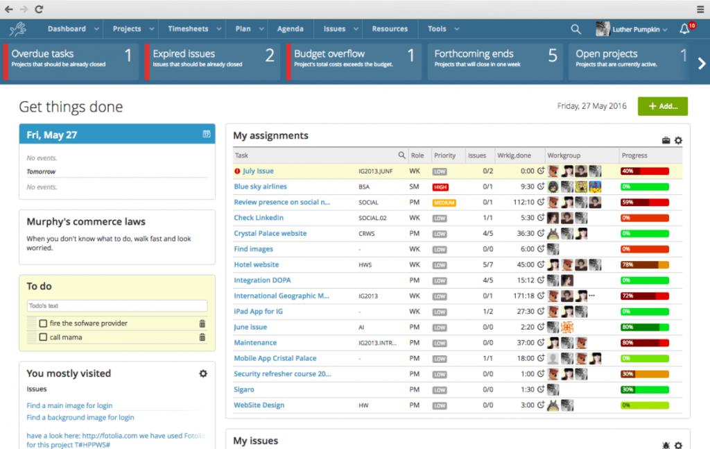 Project management, time management software